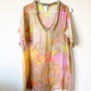 ALBERTA FERRETTI Floral V Neck Silk Sheer Blouse